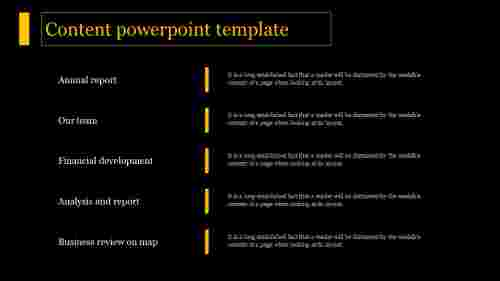 A five noded content powerpoint template